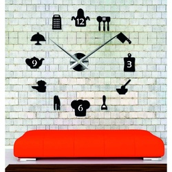 Sentop - ceas de perete modern modern lipit de bucătărie și negru SZ066
