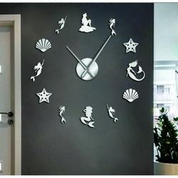 Sentop - Ceas de perete oglindă sirenă fantezie și argint SZ068