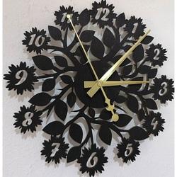 Sentop - ceas de perete din placaj din lemn flori PR0343, de asemenea, negru