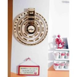 Stylesa - Calendar din lemn + ceas gravat pe lemn JOGBEL II INGLIS PR0161 plop deschis