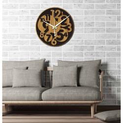 Sentop - Ceas de perete modern numărul HDKF019 MDF stejar - negru