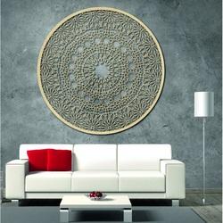 Mandala de lemn sculptată pe perete - Pasiune