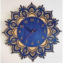 Sentop - Ceas de perete din lemn - model: fag / culoare albastră ZUBI