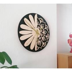 Sentop - Ceas de perete din lemn model floare de viață: MDF placaj negru / plop