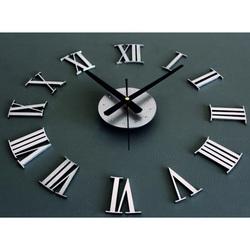 3D Nalepovacie nástenné hodiny kovové rímske čísla.Tmavo sivé až čierne. Materiál : PMMA, PLEXISKLO