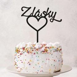 """Adâncitură din plastic - decor pentru tort """"Din dragoste"""" - Dimensiune 130 x 180 mm"""