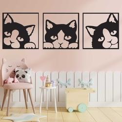 Imaginea de pe peretele unei pisici din placaj colorat din lemn