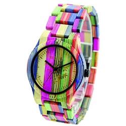 Ceas de mână din lemn colorat Monika