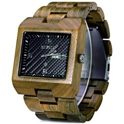 Drewniany zegarek żebrowane ochra Bewell