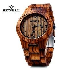 Drevené náramkové hodinky zebrované hnedý orech. BEWELL