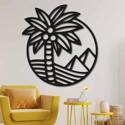 Pictură din lemn pe peretele unui palmier de pe plajă - MALLAWI | SENTOP