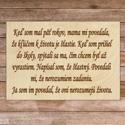 Însemn din lemn cu textul - Cheia vieții | SENTOP