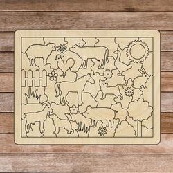 Ajutor senzorial din lemn Montessori - Animale de fermă | SENTOP H018 Plop