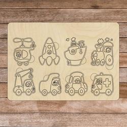 Insert Montessori din lemn - Vehicule | SENTOP