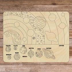 Puzzle montessori din lemn - Sistem solar 10 bucăți | SENTOP