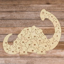 Puzzle din lemn pentru copii - Dinozaur și numere 26 piese | SENTOP