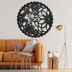 Ceas de perete din lemn - pajiște fluture - negru și colorat | SENTOP PR0445