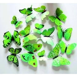3D   Fluturi decorative Verde - 1 pachet conține 12 bucăți