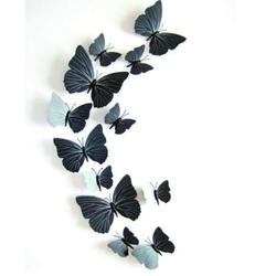 3D autocolant - fluturi negru, alb-negru - 1 pachet conține 12 bucăți