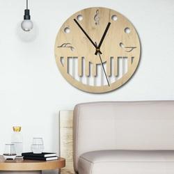 Ceas de perete din lemn - Partituri negru și color | SENTOP PR0453