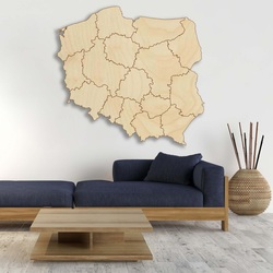 Harta de perete din lemn Republica Polonia - 16 bucăți | SENTOP