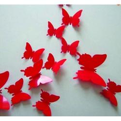 60/5000 Autocolante Trendy - fluturi rosii - 1 pachet conține 12 bucăți