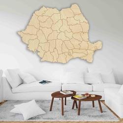 Harta din lemn pe perete România - 42 buc | SENTOP