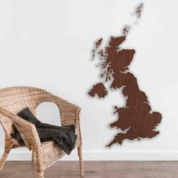 Harta din lemn pe perete Marea Britanie | SENTOP