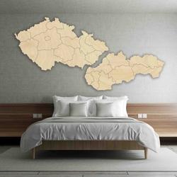 Harta de perete - Republica Cehă și Slovacia - lemn