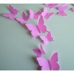 Color Sticker - Pink Butterflies - 1 pack contains 12 pcs