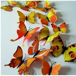 3D Autocolant - fluturi colorate în galben - 1 pachet conține 12 bucăți