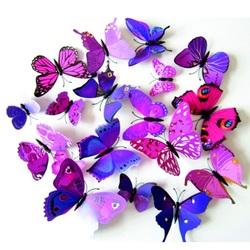 Autocolant Roz-violet fluture - 1 pachet conține 12 bucăți