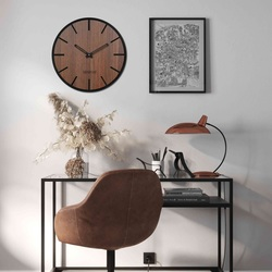 Ceas de perete din lemn - Sentop | HDFK026 | piuliță de wenge