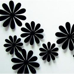 3D autocolant pe perete - Flori negre - 1 pachet conține 12 bucăți