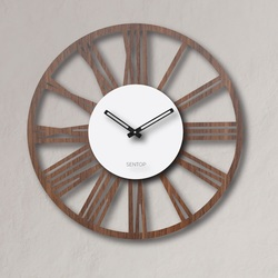Ceas de perete din lemn cifre romane - Sentop | piuliță de wenge