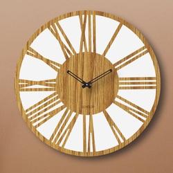 Ceas de perete din lemn cifre romane Stejar