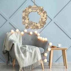 Decor de lemn de Crăciun pe perete | Coroană de flori