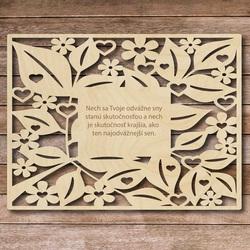 Însemn din lemn cu textul - vise îndrăznețe - până la 60 x 80 cm