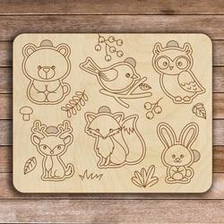 Insert din lemn pentru copii - animale din pădure 6 bucăți | SENTOP H005