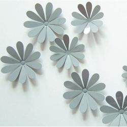 3D flori lipi pe perete - Gri - 1 pachet conține 12 bucăți