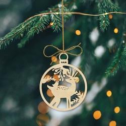 Decor de Crăciun de cerb din lemn, dimensiune: 79x90 mm PR0009