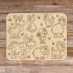 Puzzle pentru copii din lemn - Animale de fermă 8 piese | SENTOP