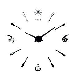 Modern pește Ceas de perete. Dial negru. Mâini de argint.