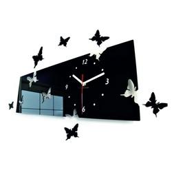 Elegant fluture Ceas de perete. Culoare neagră. Dimensiuni 60 x 49 cm