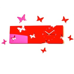 Wall clock butterfly TATO. Color red. Dimensions 60 x 49 cm