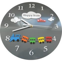 Ceas de perete pentru copii tren culoare gri. Dimensiune 30x30 cm CLOUD