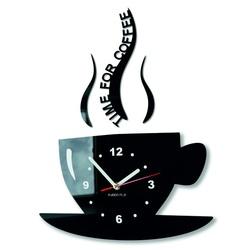 Perete de cafea ceas și relaxați-vă. Culoare neagră. Dimensiuni 36 x 32 cm