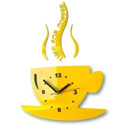 Ceas de perete de floarea-soarelui ceașcă de cafea. Culoarea galbenă. Dimensiuni 36 x 32 cm