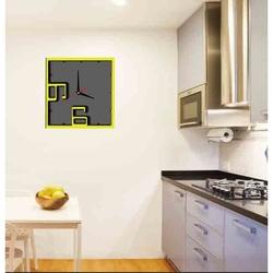 Zegar ścienny - Isidro, kolor: żółty, czarny, szary