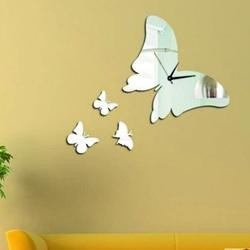 Moderné nalepovacie nástenné zrkadlové hodiny motýlik .